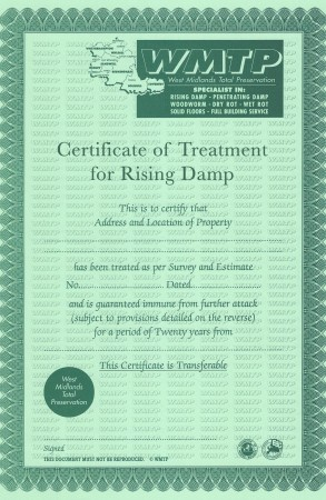 Certificate of Treatment for Rising Damp